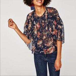 Zara Woman Blue Floral Sheer Blouse Sz XS